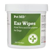 Pet MD Aloe Vera & Eucalyptus Dog Ear Wipes, 100 count