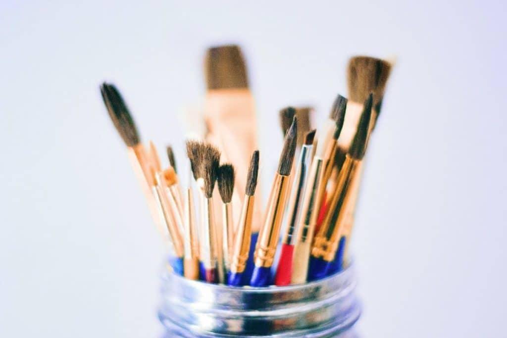 Paintbrushes in Jar