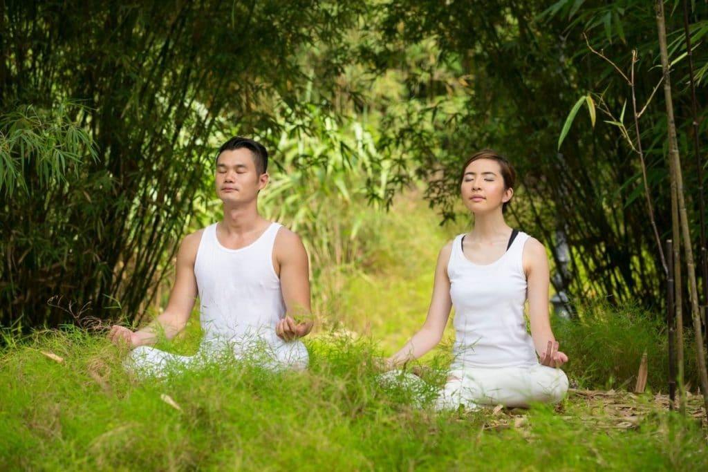 Man and Woman enjoying Tai Chi vs Yoga
