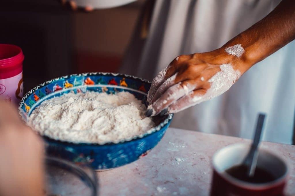 Woman Using Flour
