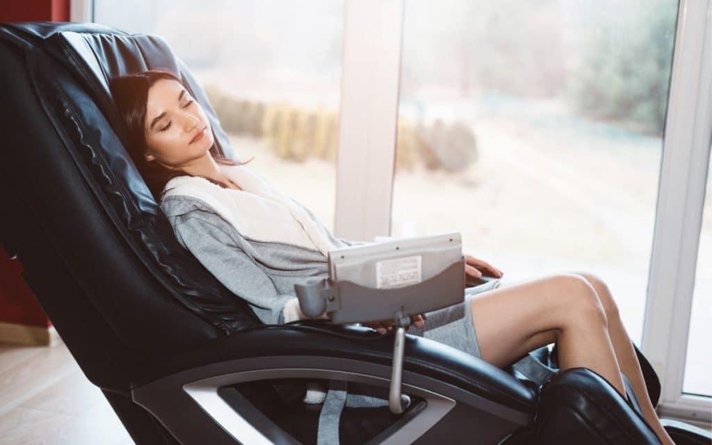 Woman enjoying a Reclining Massage Chair