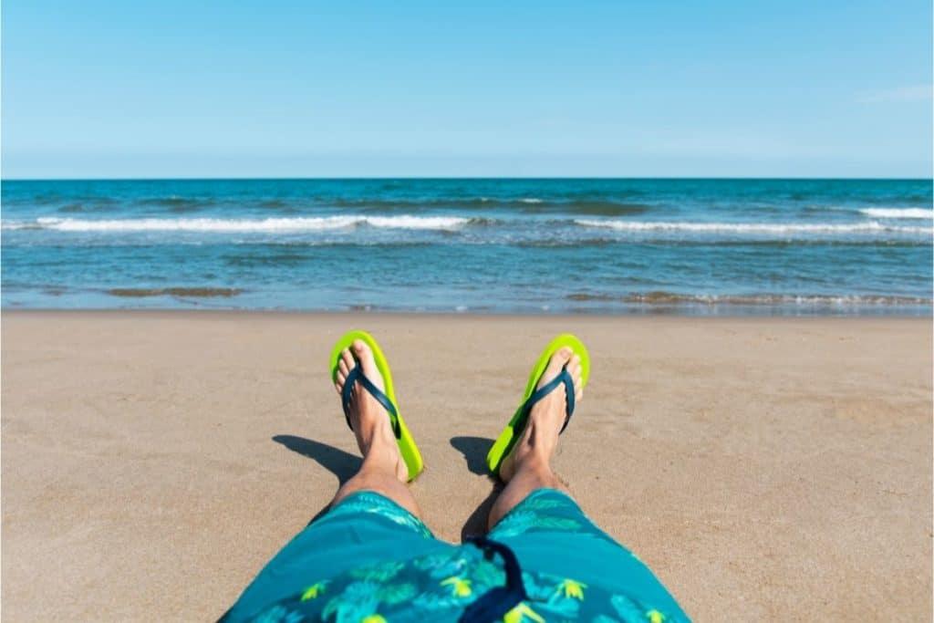 Man wearing Flip Flops at the coast